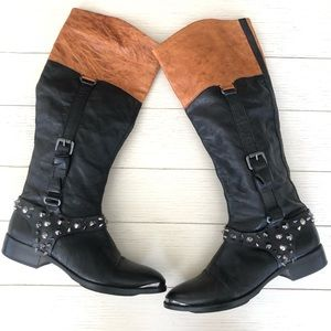 Sam Edelman Park Spiked leather knee high boots